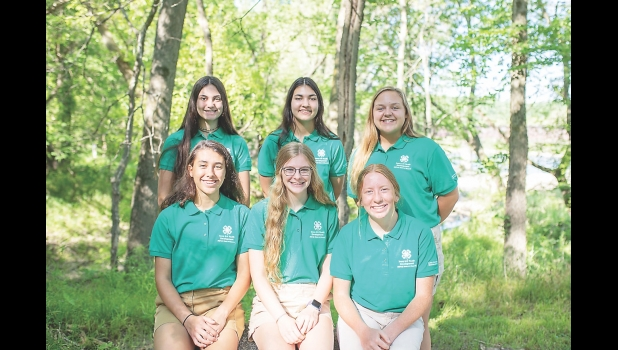 Seen here are the 4-H members from the North Central Area of Iowa who recently started their terms on the Iowa 4-H Council. Pictured are Cecelia Hill, Kendra Kinne, Marli Backhaus and Teagan Johnson, Worth County; and Emma Alstott and Gracie Harvey, Webster County.