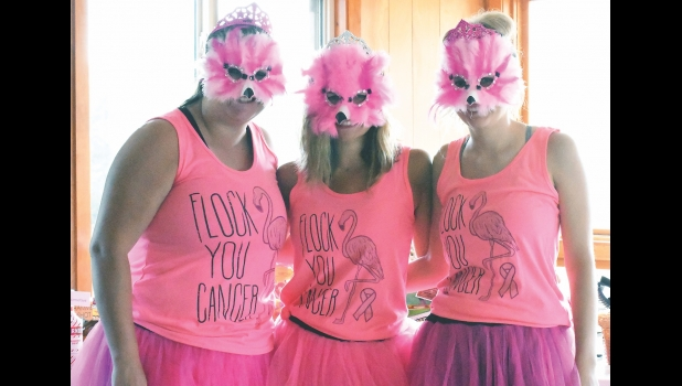 The Best costume award winners at last Saturday morning's fifth annual Pink Flamingo Cancer Awareness Golf Tournament and Fund Raiser were Katelyn Loegering, Jade Gasteiger and Jewell Doss.