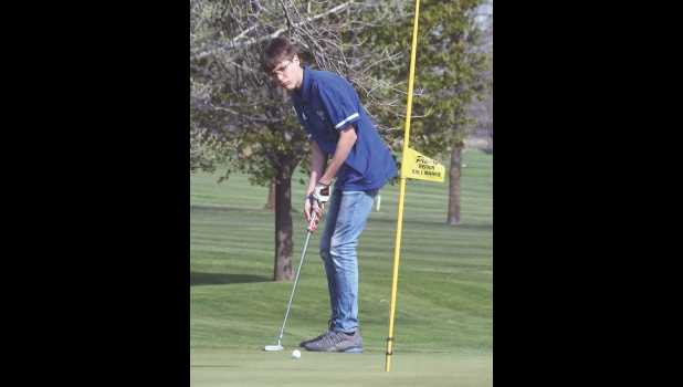 The Vikings' Nick Hanson looks to sink his putt last Monday afternoon at Manly's Pioneer Town and Country Club. Hanson shot a 50 on the day as the Vikings won the meet with a team score of 190.