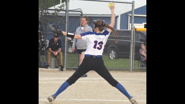N-K's Kayla Senne delivers a pitch last Monday afternoon in Allison. The Lady Vikings lost on opening night to North Butler 2-0 but Senne had a fine night, striking out 11 while allowing just one hit.
