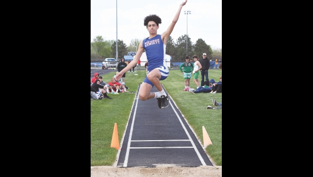N-K's Ben Yezek competes in the long jump last Thursday in Manly at the annual TIC East Meet. Yezek, just a freshman, placed 12th with a jump of 16-06.