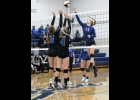 N-K senior Kayla Senne blasts a shot past two Bison defenders in Tuesday night's 3-0 loss to North Iowa.