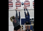 N-K's Kayla Senne gets the block in last Tuesday's opening night win over the Wildcats. After the first week of action Senne leads the team with 15 assists and is 20-26 (76.9) at the service line.