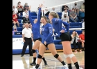 The lady Vikings celebrate after scoring a point against N-P.