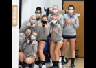 The new normal during COVID-19: The Lady Vikings mask it up before pre-game warmups last Tuesday night in Northwood.