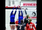 Lady Vikings Natalie Cordle and Brylee Hoeppner go up to block a Nashua-Plainfield shot in last Tuesday night's 3-1 (14-25, 23-25, 26-24, 11-25) loss to the Huskies. Cordle and Hoeppner have combined for 34 kills and eight blocks in the team's four matches this season.