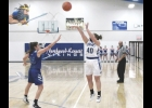 N-K's Emma Davidson splashes a 3-pointer in last Friday night's 41-31 TIC East win over Rudd-Rockford-Marble Rock. Davidson went 2-9 from behind the arch against the Lady Warriors, hitting the team's only two treys on the night.