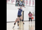 Lady Viking Carley Hengesteg returns a serve in last Tuesday night's 3-0 loss to Central Springs. Hengesteg has seen time in all seven matches this season and is fourth on the team with 34 digs.