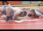N-K junior Mason Thofson earns six points for his team with this pin over Amadeo Roa of Lake Mills in last Saturday's dual tournament held in Saint Ansgar. Thofson, who had a career record of just 3-4 coming into this year, is now 4-5 this season.