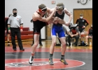 Brandon Varner, 145-pounder, uses the leg of N-P's Mckade Munn to try to put him on the mat last Thursday night in Sheffield. Munn recovered from Varner's offensive moves and won by fall.