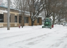 With the recent snowfall, an increased contingent of the City's traffic consisted of snow-clearing machinery, like the school's snow-removal equipment seen above.